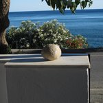 "The ""perfect stone"" I found on the beach to decorate the perfect veranda we had at Skinos Apartm"