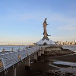 The statue from the mainland in the evening!