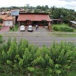 Medium view of restaurant from quadcopter