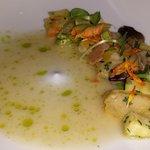 Agnolotti (ricotta  dumplings) with Squash Blossoms, Shiitakes