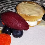 Goat Cheesecake, Blueberry Sorbet