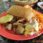 Entree sample: rice, empanada, potatoes, sopapilla
