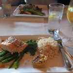 Bourbon-glazed salmon with orzo and broccolini
