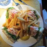 Lobster Club Sandwich with fries