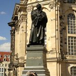 Frauenkirche and the statue of the Reformer Martin Luther that stands in front.