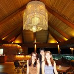 The cove restaurant with its giant shell chandelier.