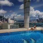 View at the rooftop pool