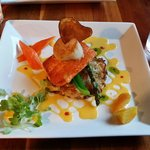 Steel head trout, scallop, potato pancake, béarnaise