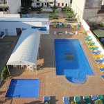 View from top floor over pool