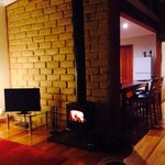 Log fire inside the cottage