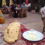 fresh warm bread and local butter on the pati