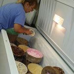 Kampers klub house servering up ice cream scoops on saturdays. $1 scoops for guests with yummy t
