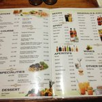Menù del ristorante