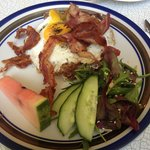 Sunny side up and bacon