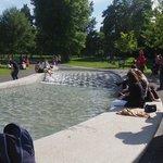 People enjoying the fountain