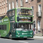 The Green Bus on Clare St., between Trinity College and Merrion Square.