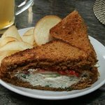 homemade chips and sandwich