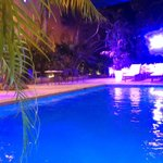 Pool area with wedding lights