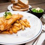 Billingsgate deep fried, beer battered cod & chips