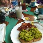 avocado and bacon on toast