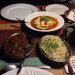 Smoked lamb. Jeera (spiced with fennel ) rice and Lababdar Paneer.