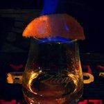 Rum con arancia flambata alla zucchero di canna....