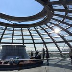 Inside the top of the Bundestag dome.