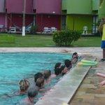 exercícios na piscina