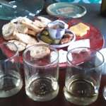 Cheese plate and French white wine flight.