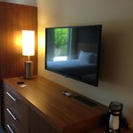 Flat screen TV that swivels so you can watch it from anywhere in the room