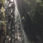 Rappelling down a waterfall!