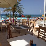 View from the restaurant to the beach