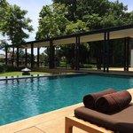 lazing around the pool