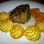 The steak with dutchess potatoes (dinner menu)