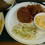 3 Meat platter with Mac and Cheese, Cole Slaw and Cornbread, with a side of Fried Green Tomatoes