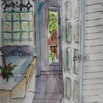 Pen and wash sketch from balcony looking into suite.