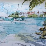 View from the beach. Pen and wash.