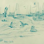 Pencil drawing. View from the beach.