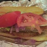 """hand breaded tenderloin cook to perfection & put on a 8"""" hoagy bun & fixed the way you requested"""