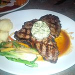 Porterhouse steak with a blue cheese butter