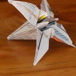 My Origami Lily from the Eaton Hotel, after transport home