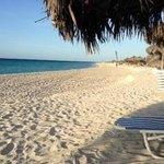 Clean sandy beach.