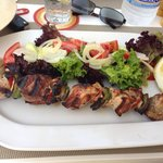 Souvlaki with salad instead of chips