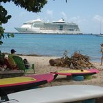 View of Jewel of the Seas from the beach at Teres Veho
