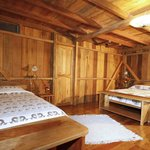 Spacious hand built wooden rooms