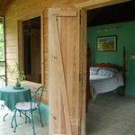 View inside porch and bedroom-green casita