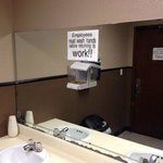 Employees must wash hands but good luck finding any soap.