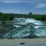 View of the mighty Niagara River from the tour bus