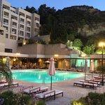 Pool Bar and restaurant at dusk