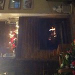 Log fire in the bar at Christmas